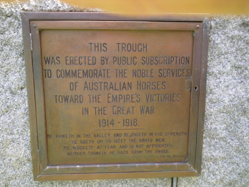Plaque at the War Horse memorial in Adelaide